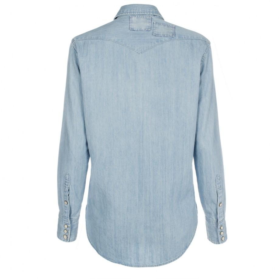 Paul Smith Women 39 S Light Wash Denim Shirt With Patchwork