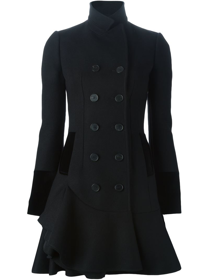 Alexander mcqueen Ruffle Double Breasted Coat in Black | Lyst