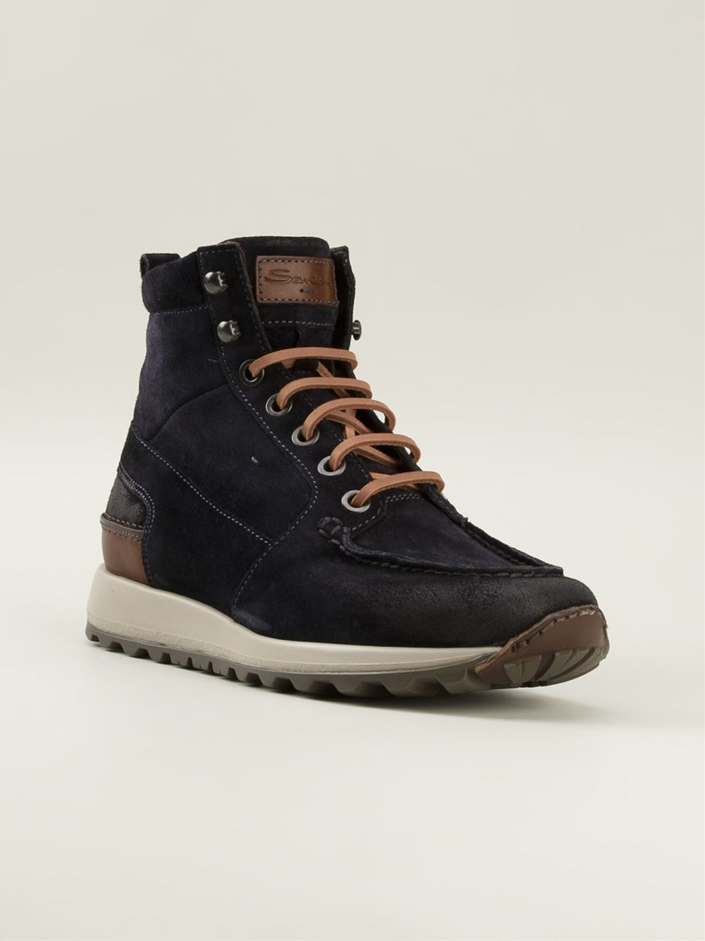 santoni ankle lace up boots in blue for lyst