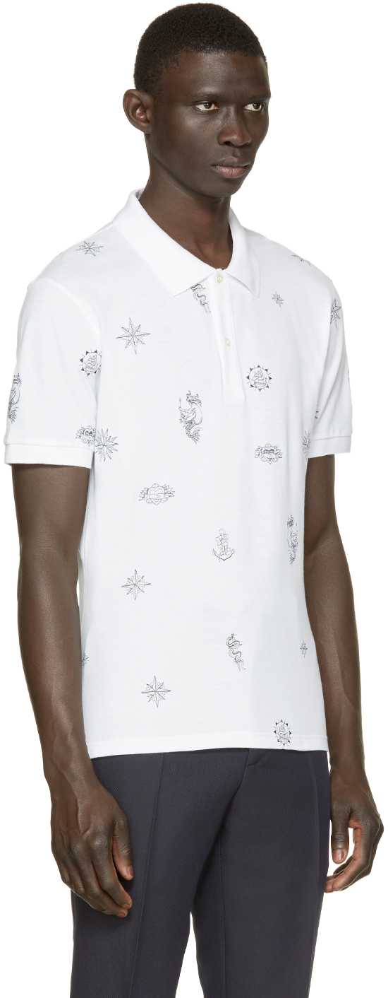 Alexander mcqueen White Tattoo Polo in White for Men | Lyst