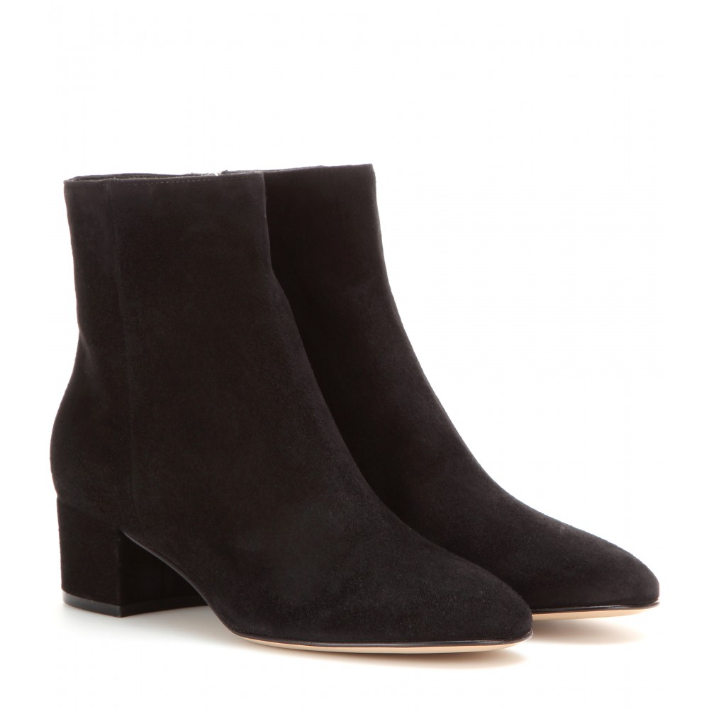 gianvito rossi suede ankle boots in black lyst. Black Bedroom Furniture Sets. Home Design Ideas