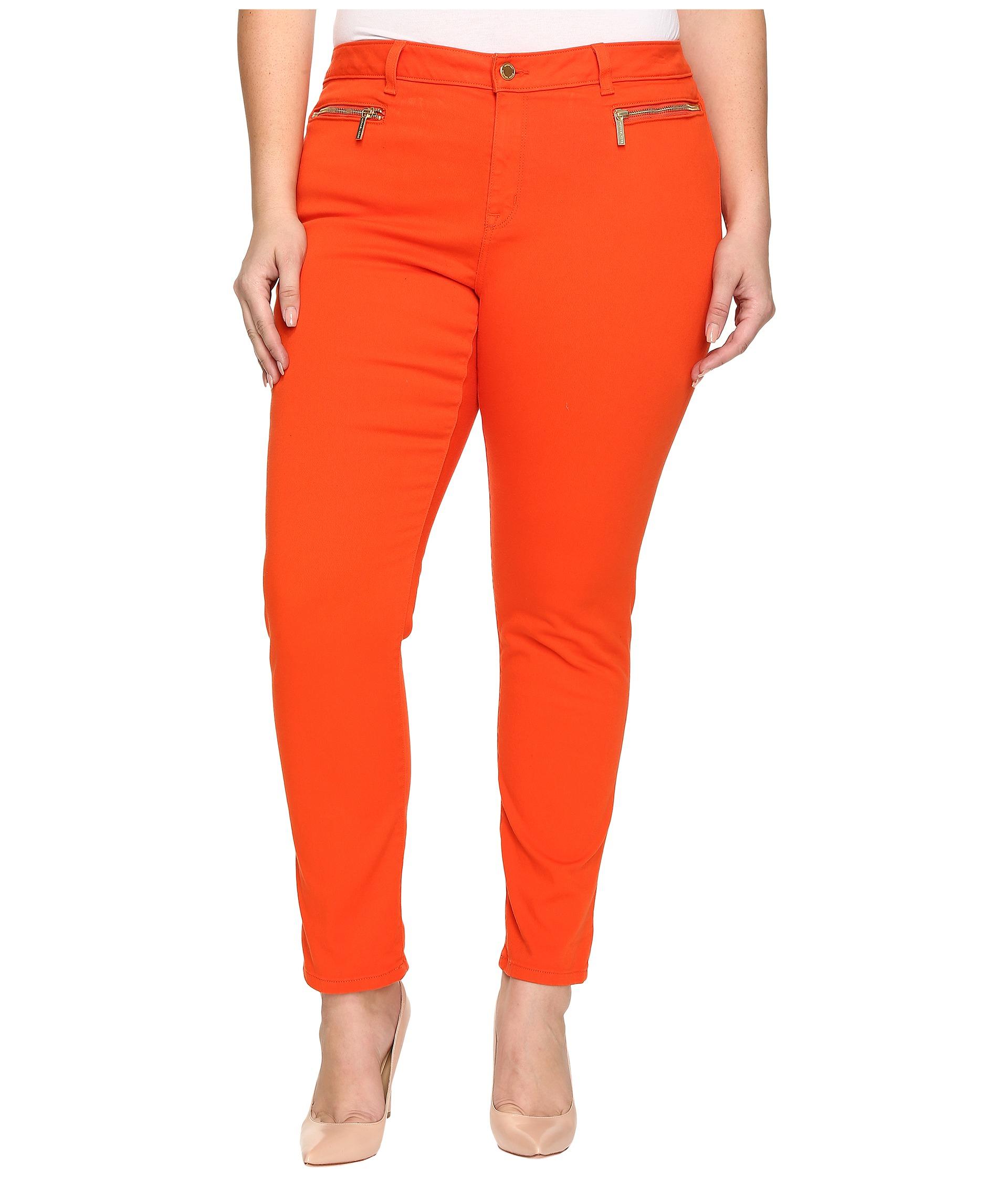 Michael michael kors Plus Size Skinny Jeans W/ Zip in Orange | Lyst