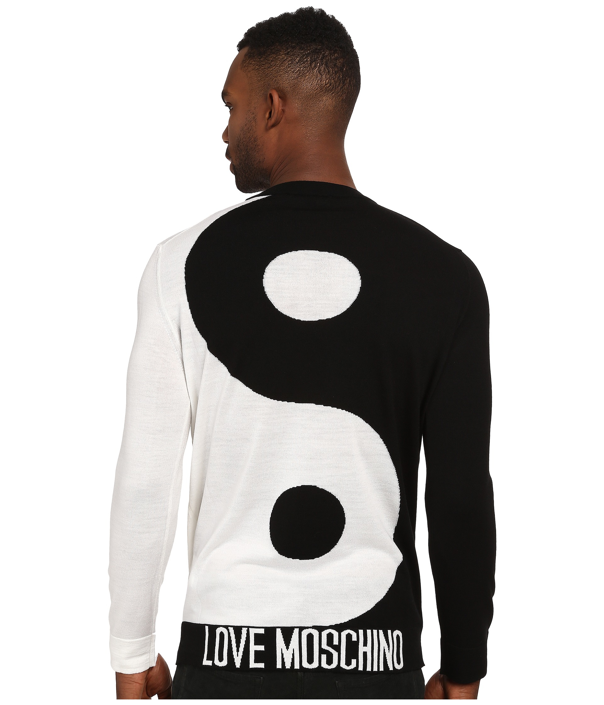 92e951e518d Love Moschino Yin & Yang Long Sleeve Tee in Black for Men - Lyst