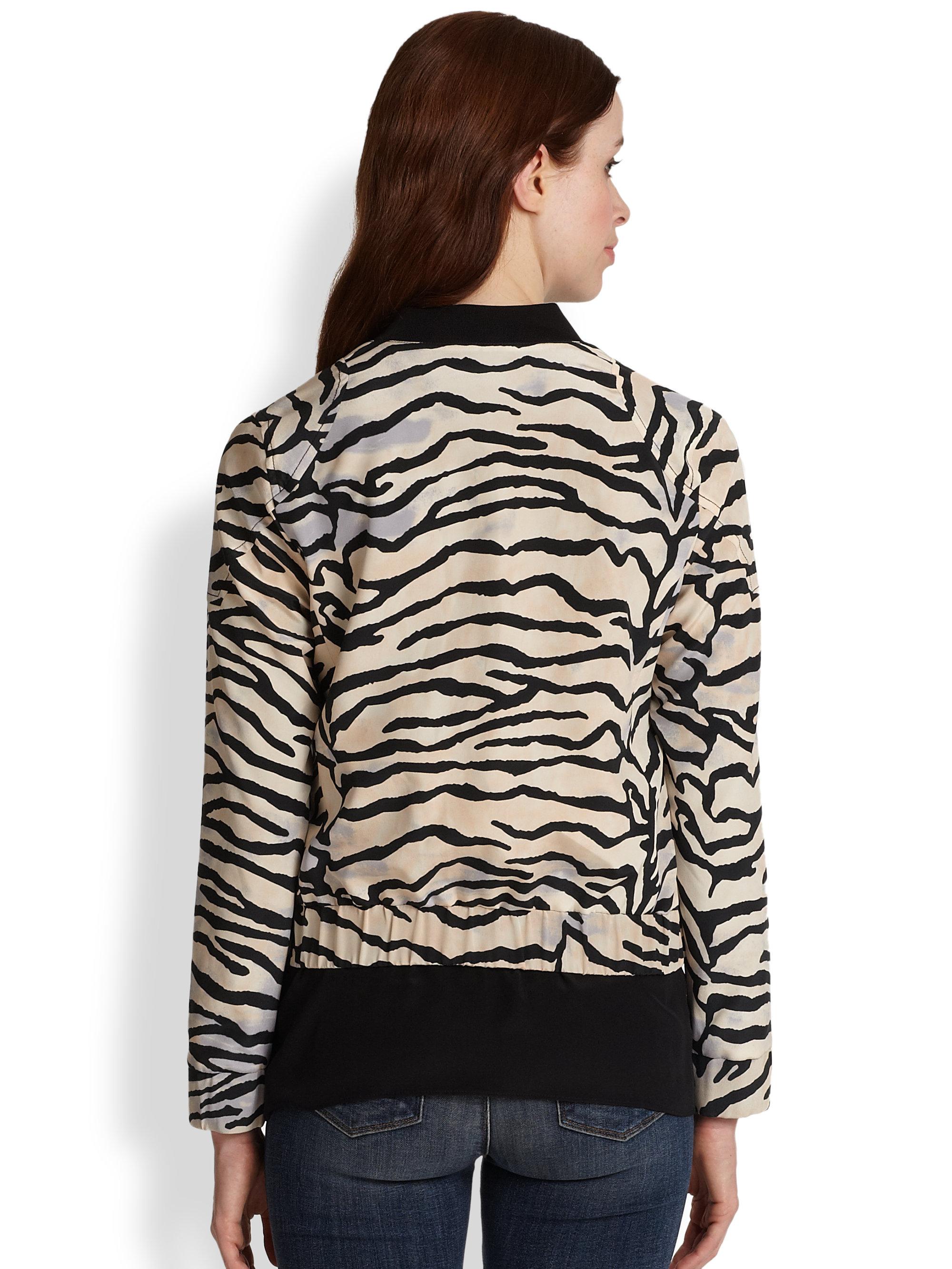 Lyst Rebecca Taylor Tiger Print Silk Bomber Jacket In