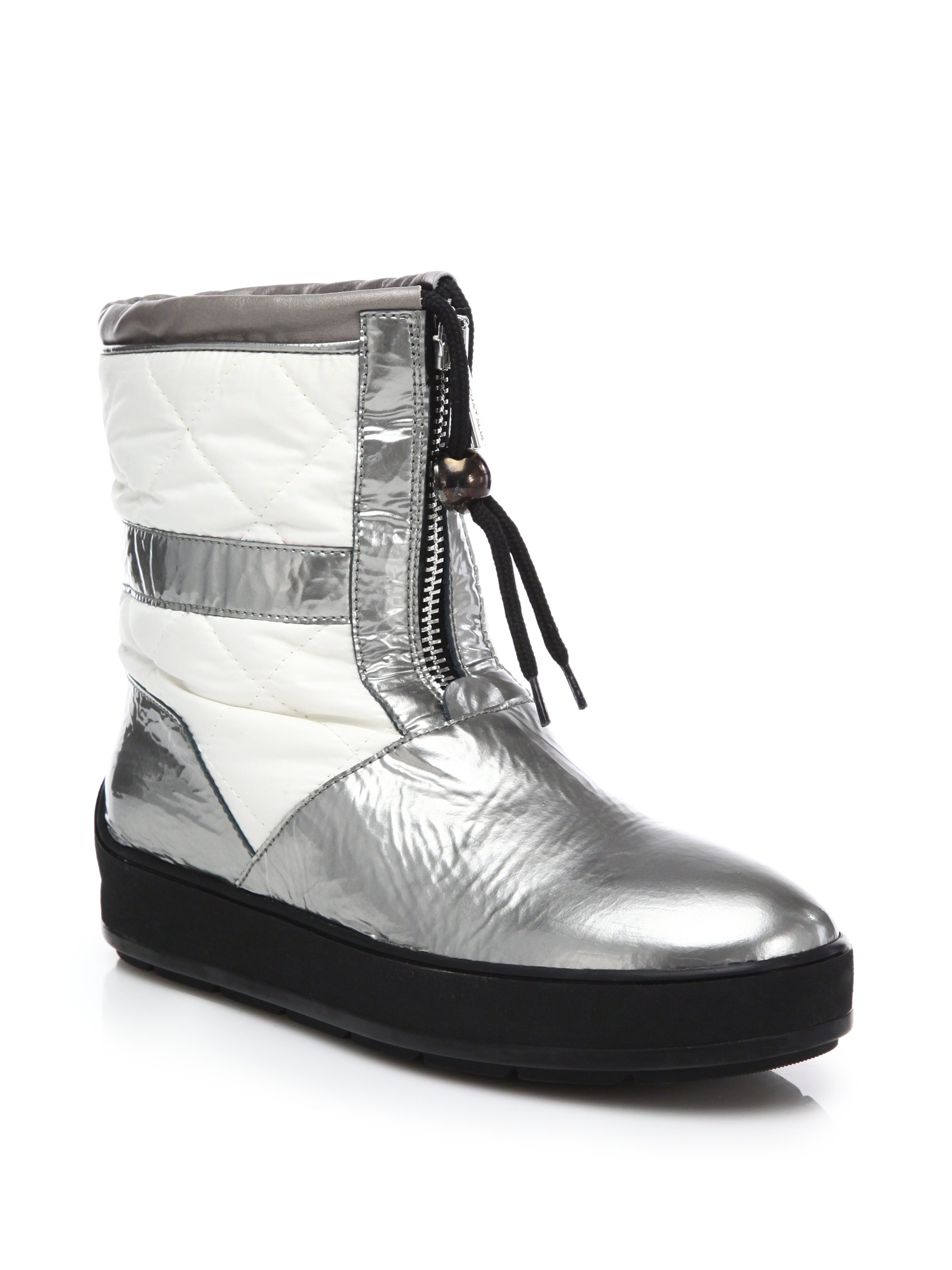 aquatalia kali patent leather quilted boots in