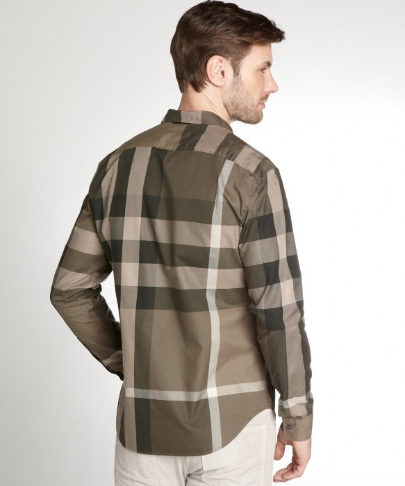 Burberry Brit Green and Khaki Check Cotton Button Down Dress Shirt ...