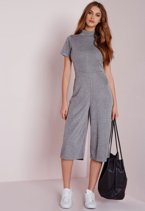 8b0dd5e7425b Lyst - Missguided High Neck T-shirt Culotte Jumpsuit Grey in Gray
