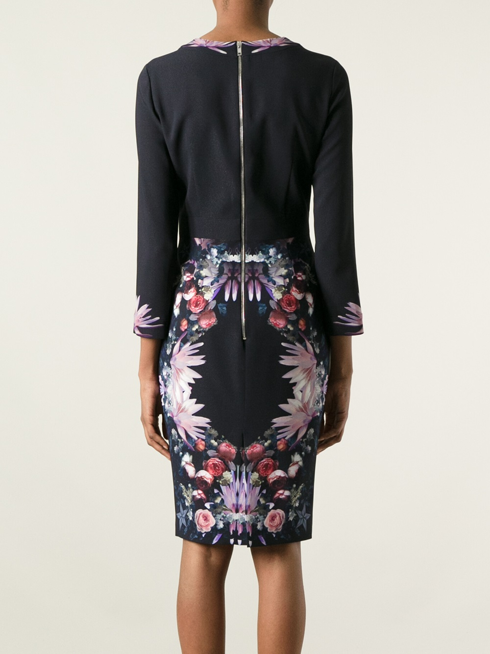 Givenchy Synthetic Floral Print Dress in Black (Purple)