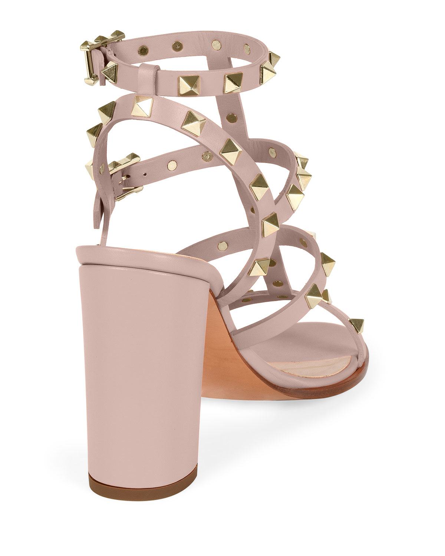 95097218ea1 Lyst - Valentino Rockstud Leather Block-heel Sandal in Natural
