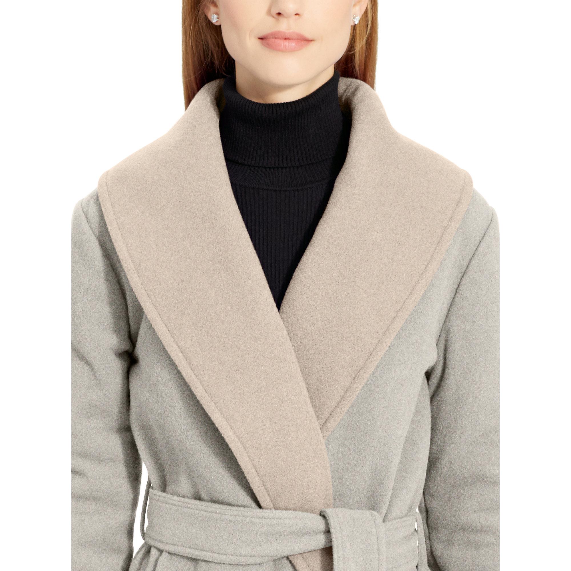 Ralph lauren Wool Wrap Coat in Gray | Lyst