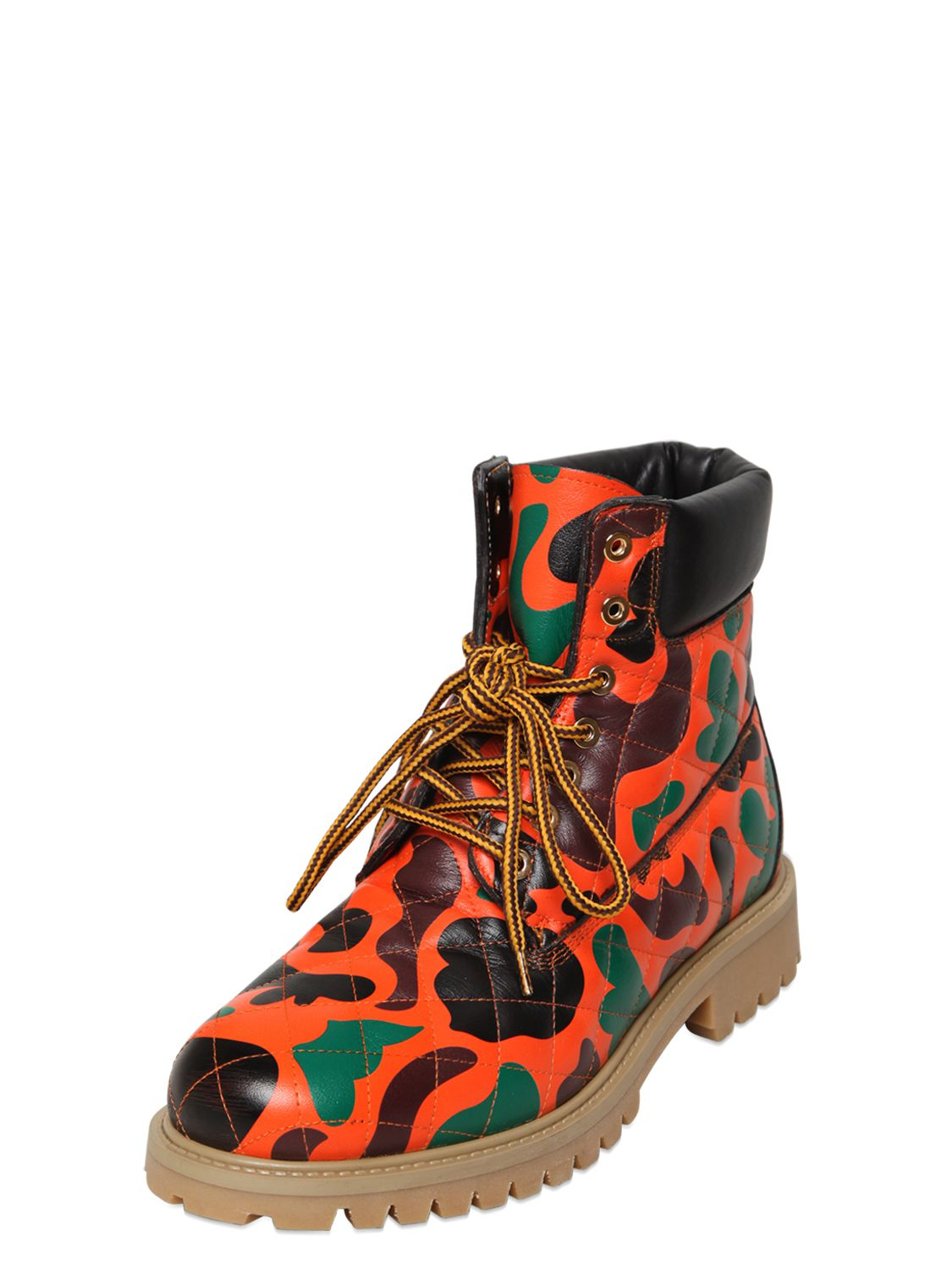Lyst Moschino Camo Print Quilted Leather Boots In Orange