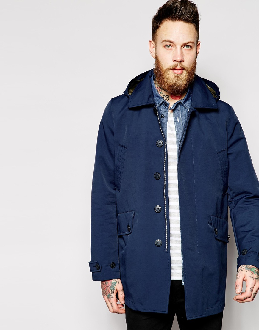 Asos Lightweight Parka With Removable Hood in Blue for Men | Lyst