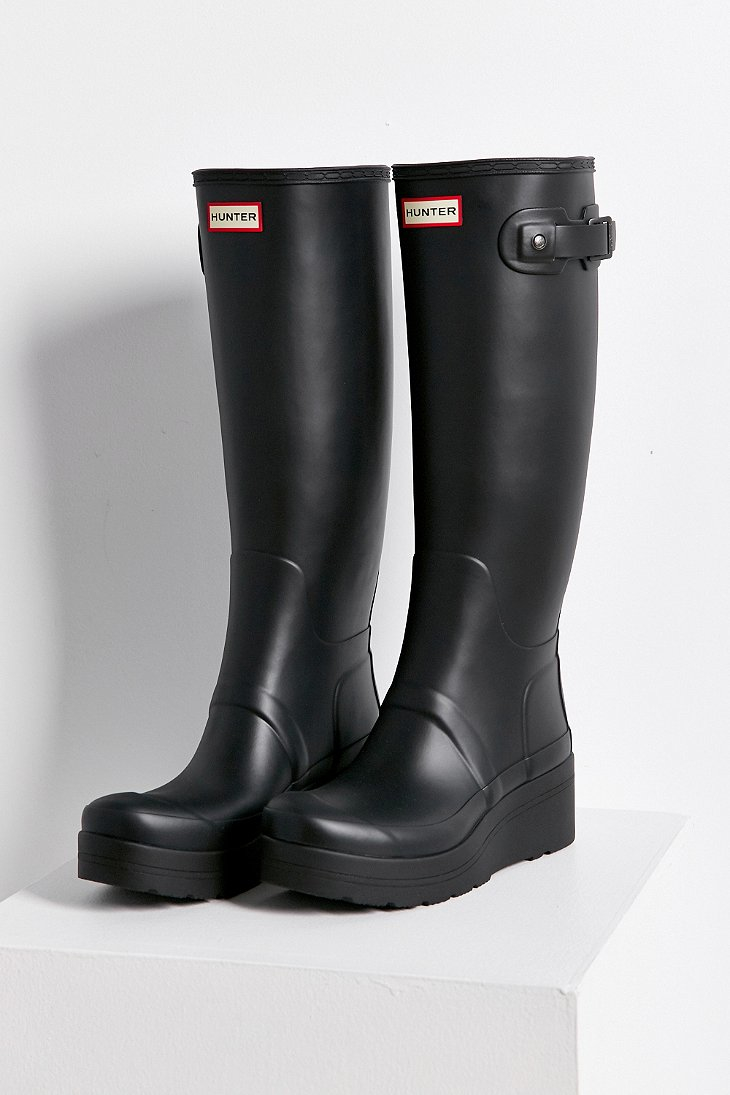 Hunter Original Low Wedge Rain Boot in Black | Lyst