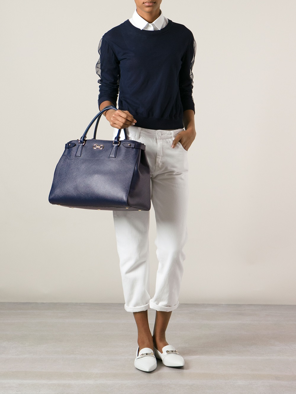 Ferragamo Large Tote Bag in Blue
