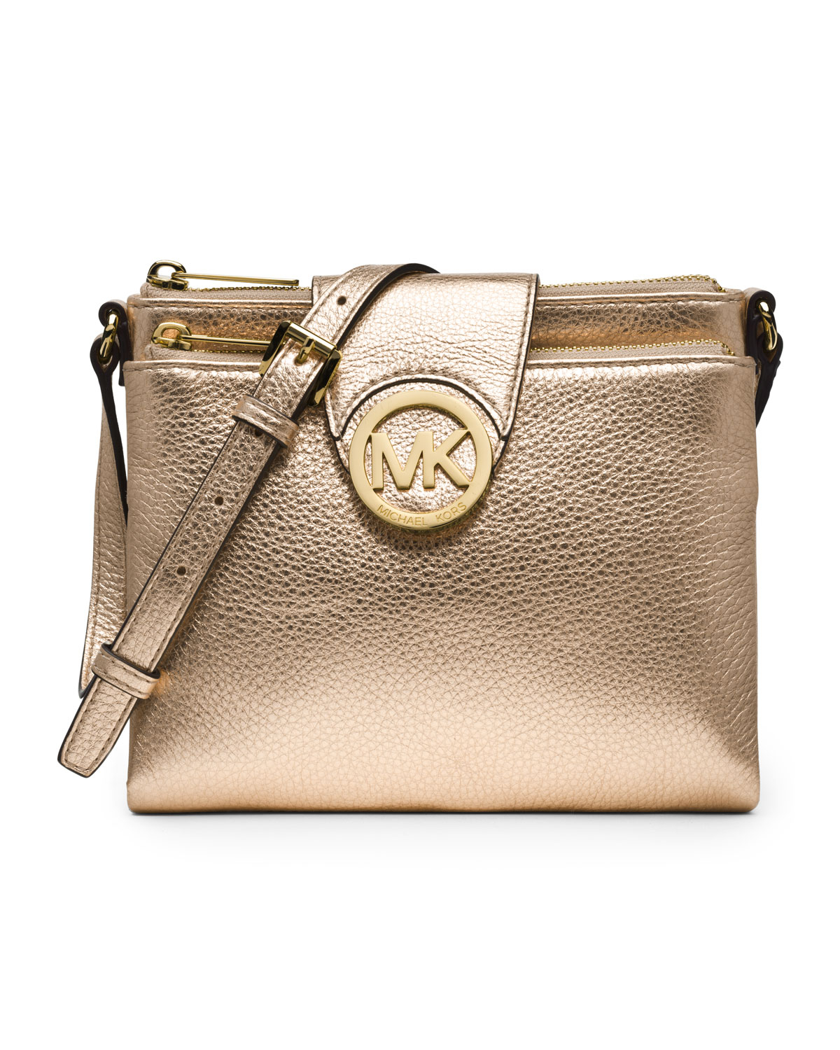 23d03a7ed8 ... promo code for lyst michael michael kors large fulton crossbody in  metallic 57489 8a530
