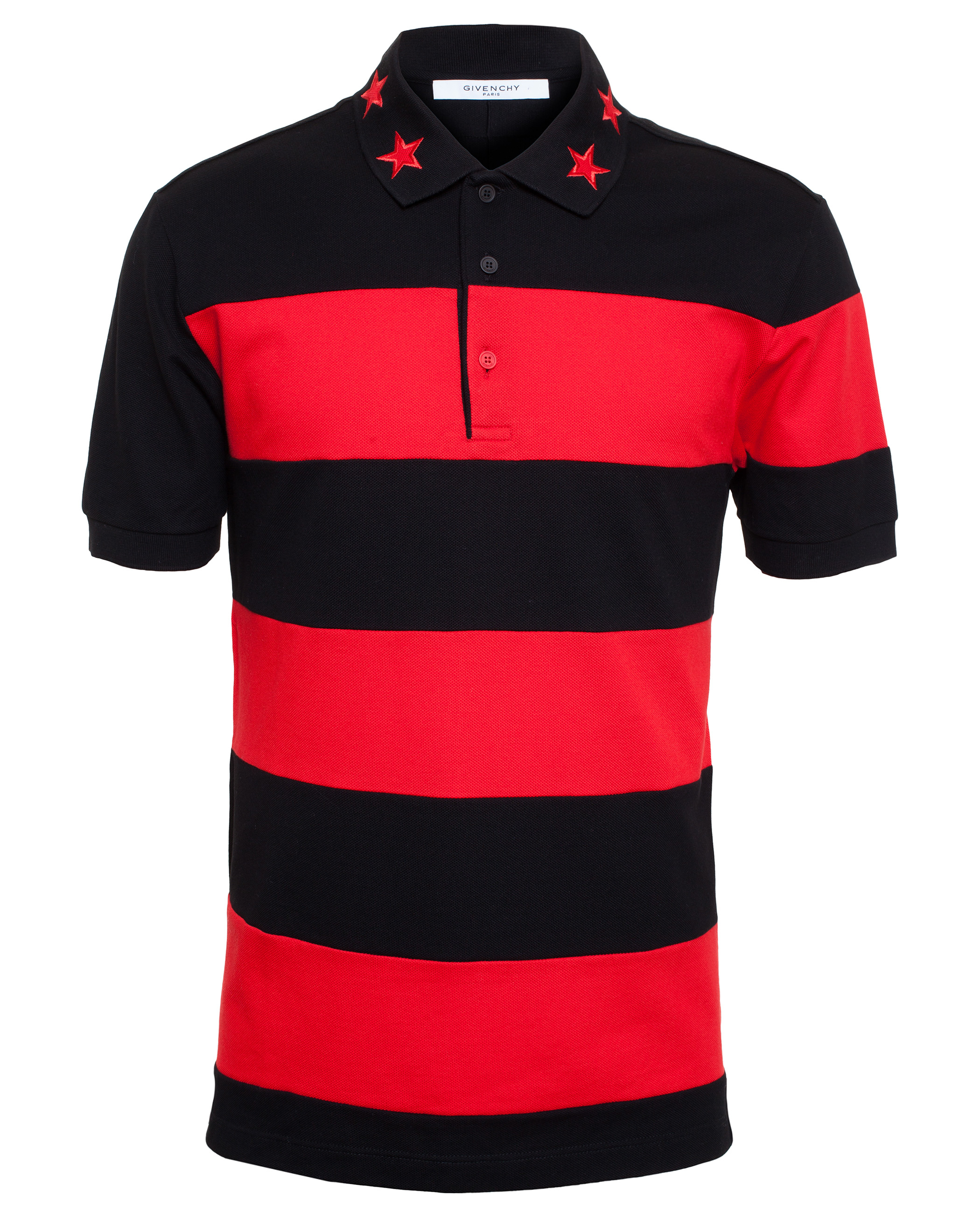 red polo shirt with black collar