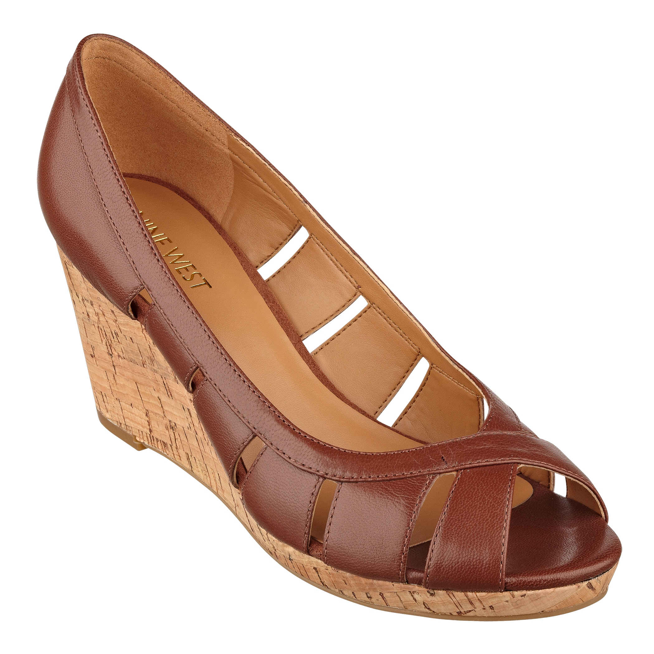 NAOT Women's Lena Wedge Sandal,Mine Brown Leather/Brown Shimmer Nubuck,35 EU/4 M US The Naot Lena is a unique slide sandal with leather lace accents. This style has stretch at the instep for adjustability and contrasting leathers.