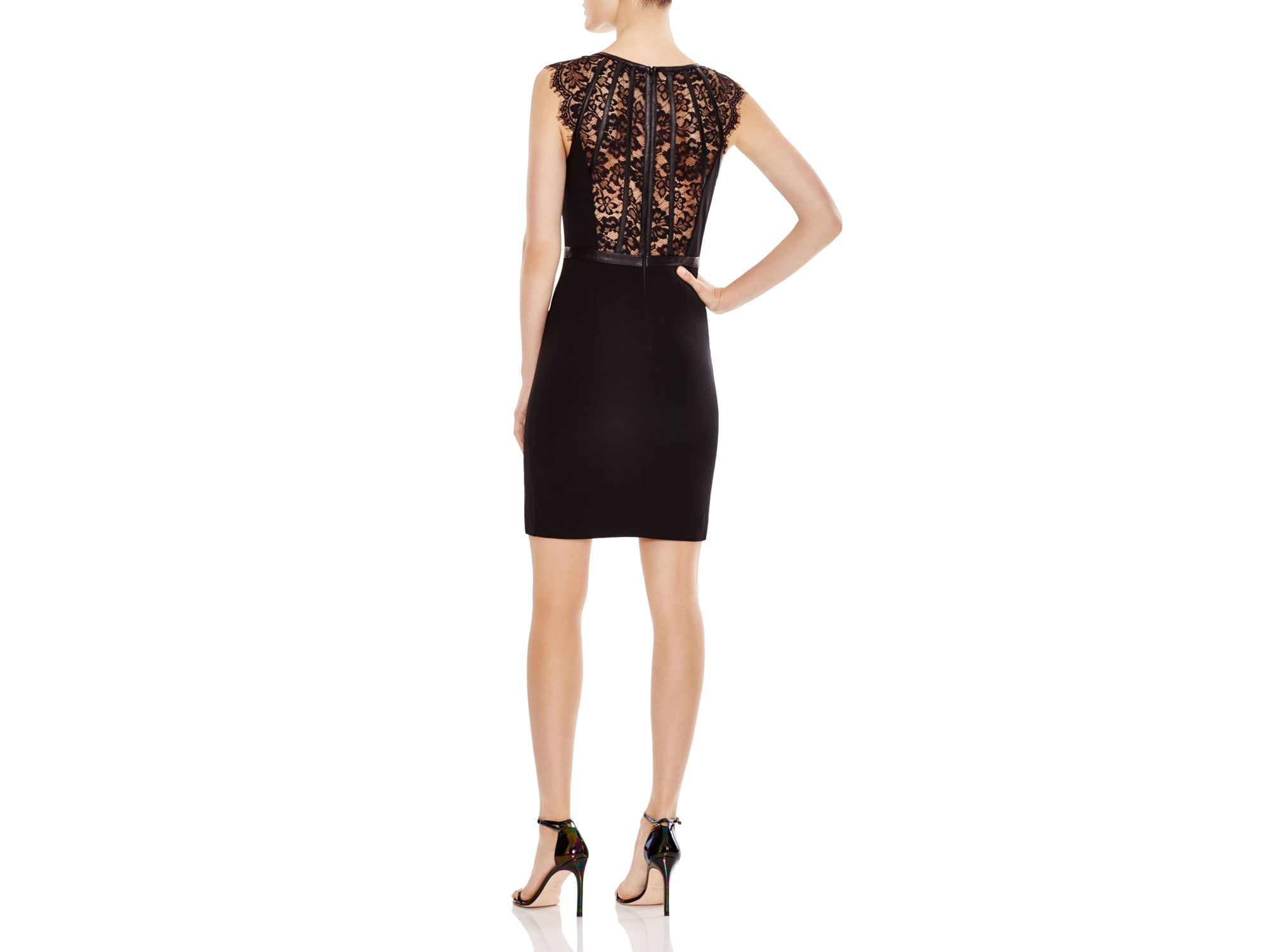 Guess Banded Lace Dress in Black | Lyst