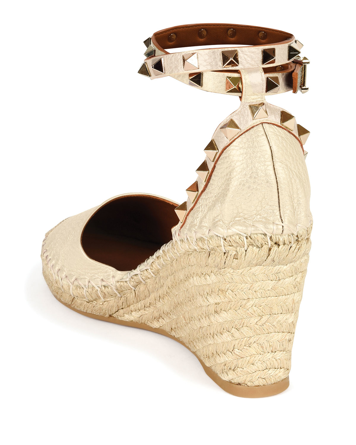 a06166638b9 Lyst - Valentino Rockstud Leather Espadrille Wedges in Metallic