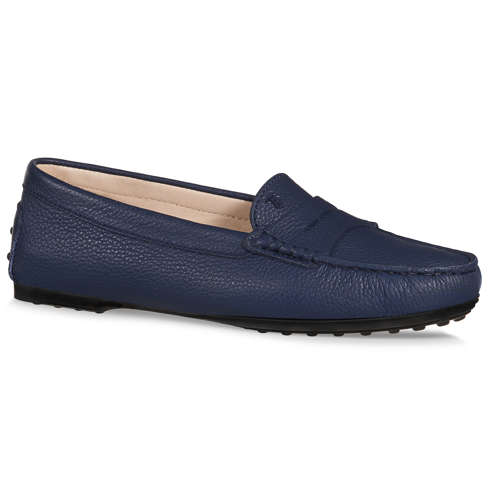 tod s city gommino leather loafers in blue lyst