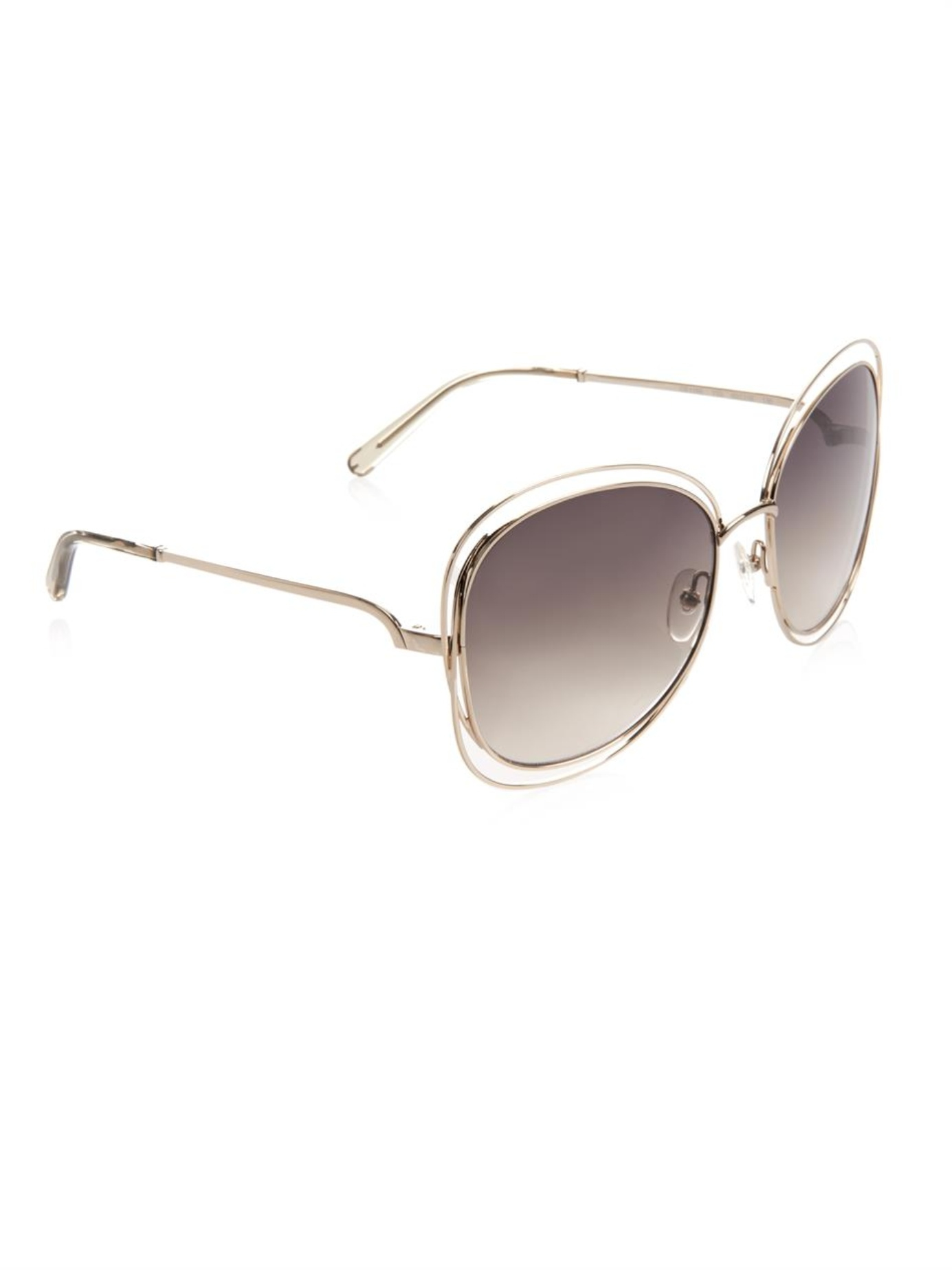 Chloe Gold Frame Sunglasses : Chloe Carlina Square-Framed Sunglasses in Metallic Lyst