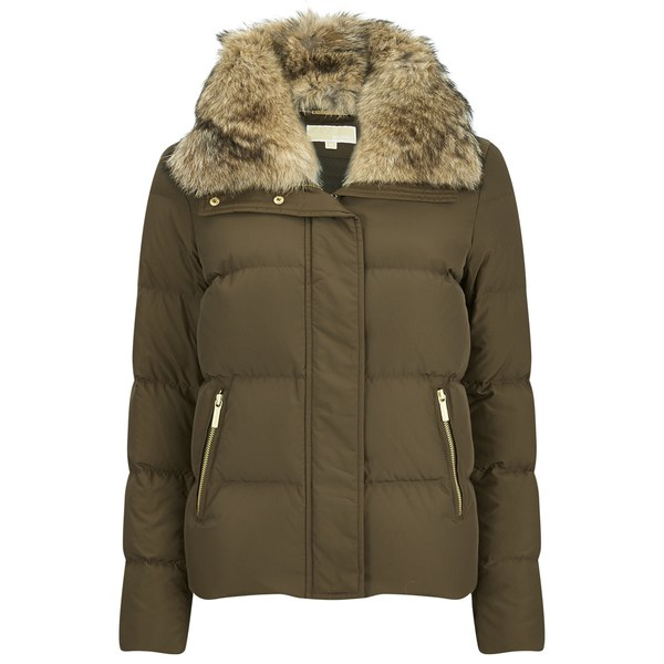 Michael michael kors Women's Crop Puffer Down Jacket in Green | Lyst