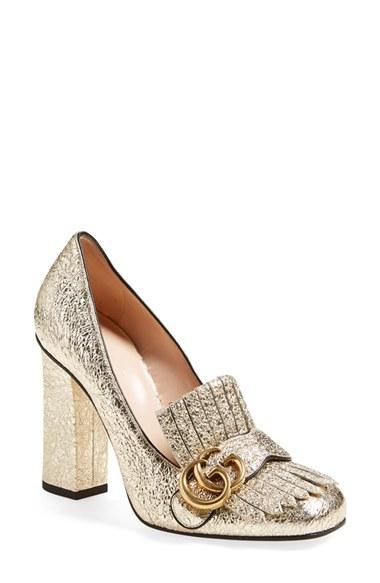 Gucci Gold Shoes Women Pump