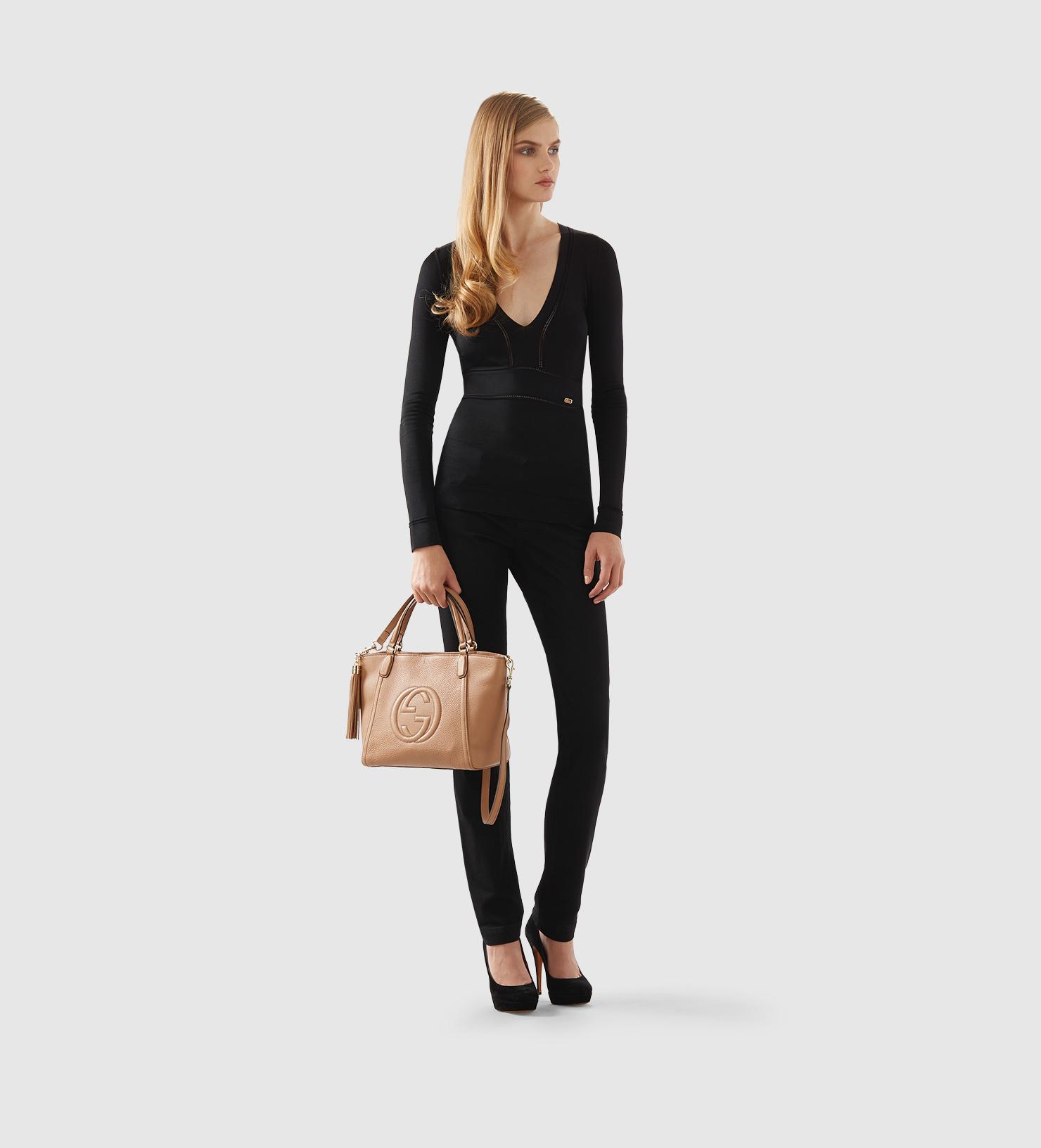 Leather top handle handbag