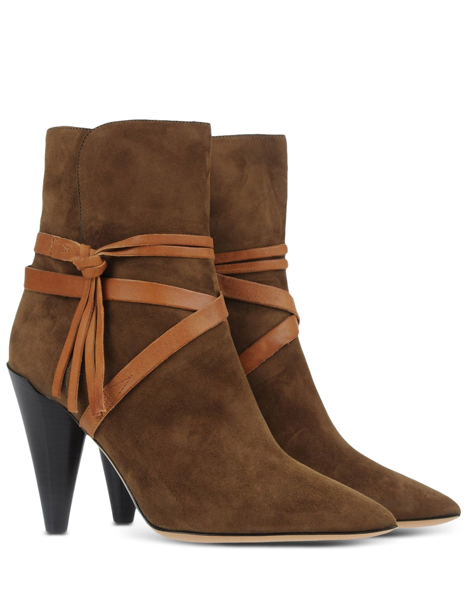 isabel marant wraparound strap suede ankle boots in khaki lyst. Black Bedroom Furniture Sets. Home Design Ideas