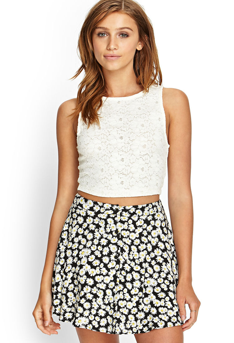 Lyst Forever 21 Floral Lace Crop Top In White