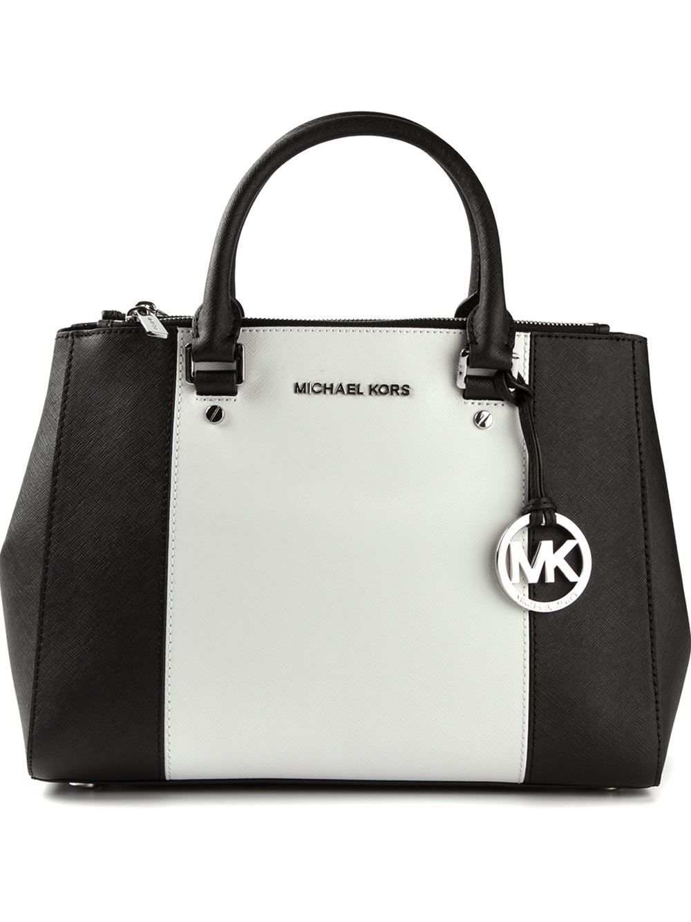 ... reduced lyst michael michael kors medium sutton colour block tote in  black 52b60 75d9e a1b0d70e7851d