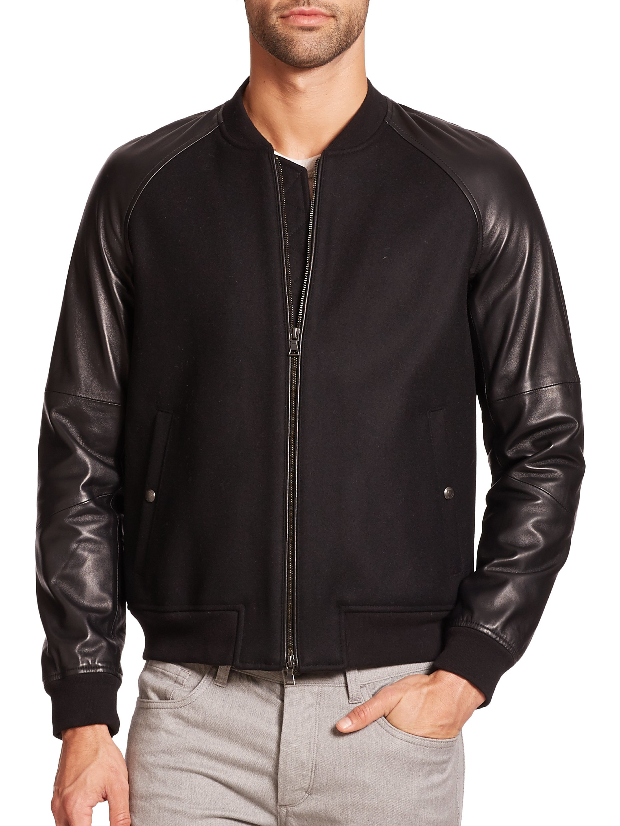 Vince Wool Amp Leather Bomber Jacket In Black For Men Lyst