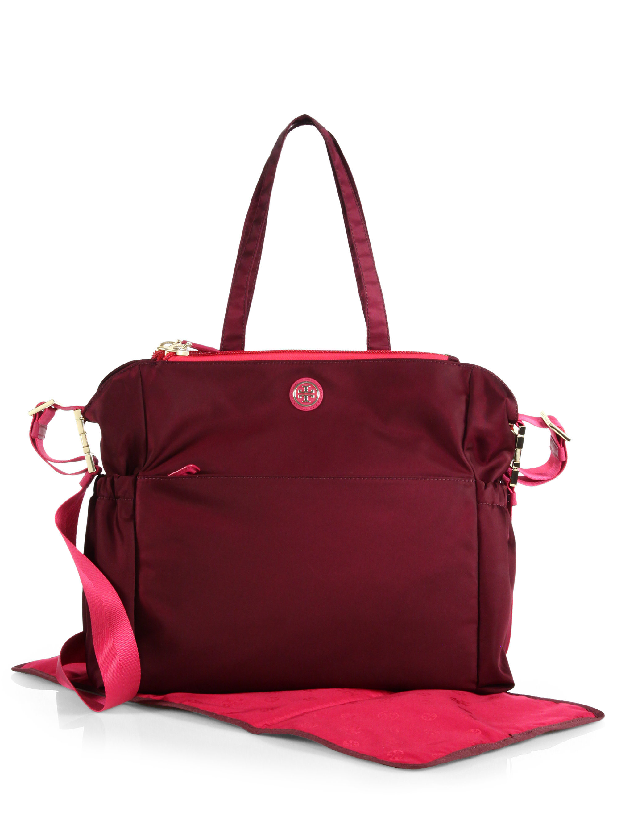 tory burch travel nylon diaper bag in red lyst. Black Bedroom Furniture Sets. Home Design Ideas