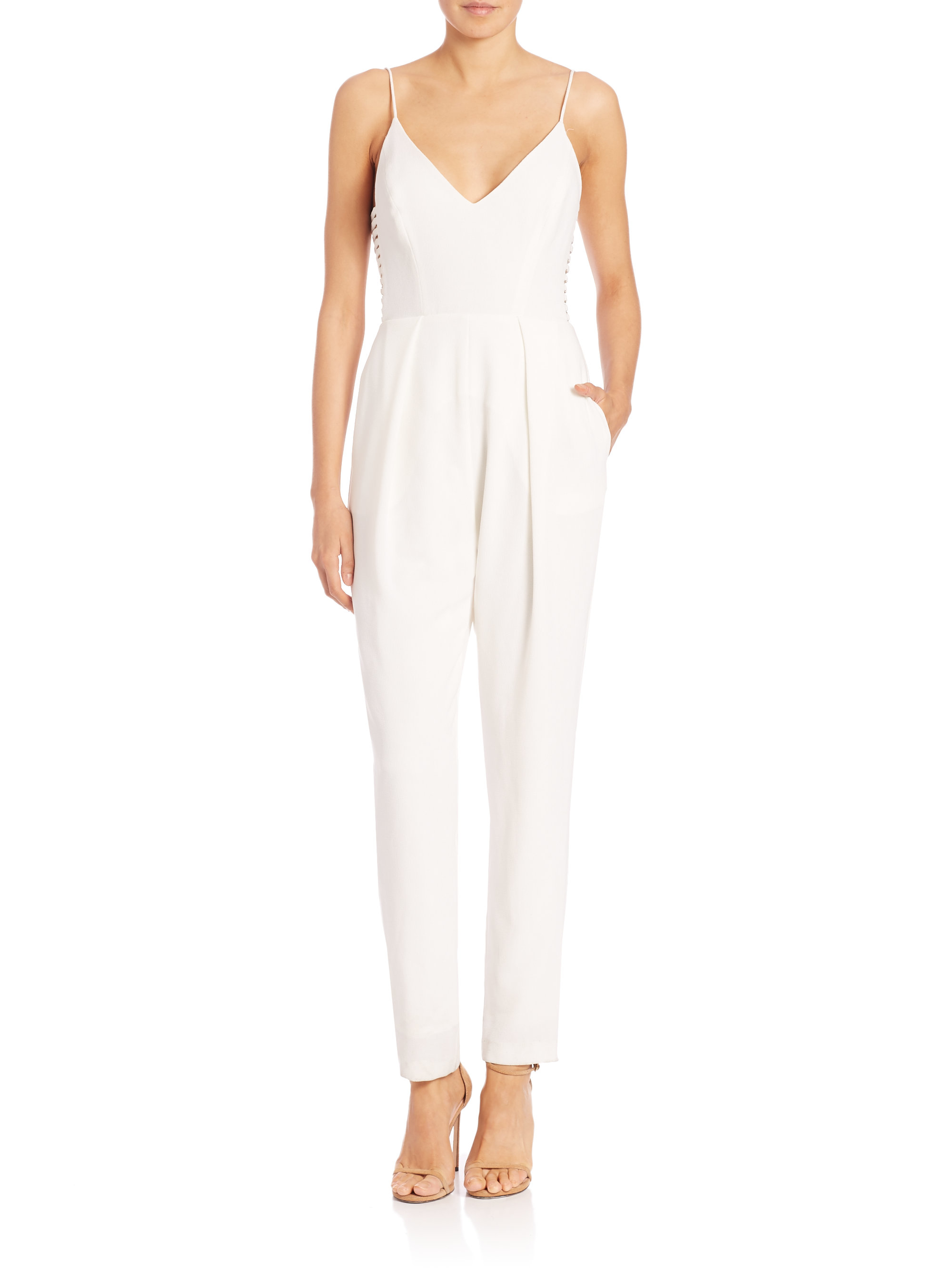 ce699aec163 Lyst - Zimmermann Crepe Harness Jumpsuit in White