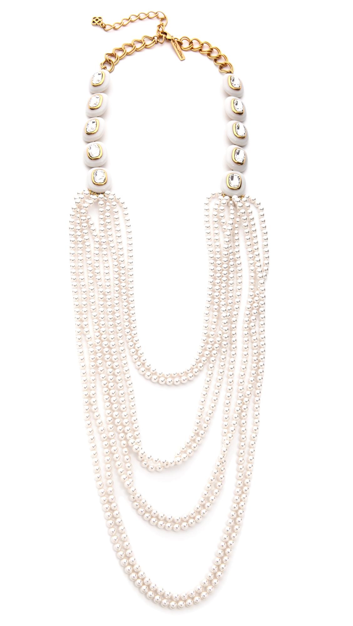 Oscar De La Renta Multi-Strand Simulated Pearl Necklace 2PAa3TW