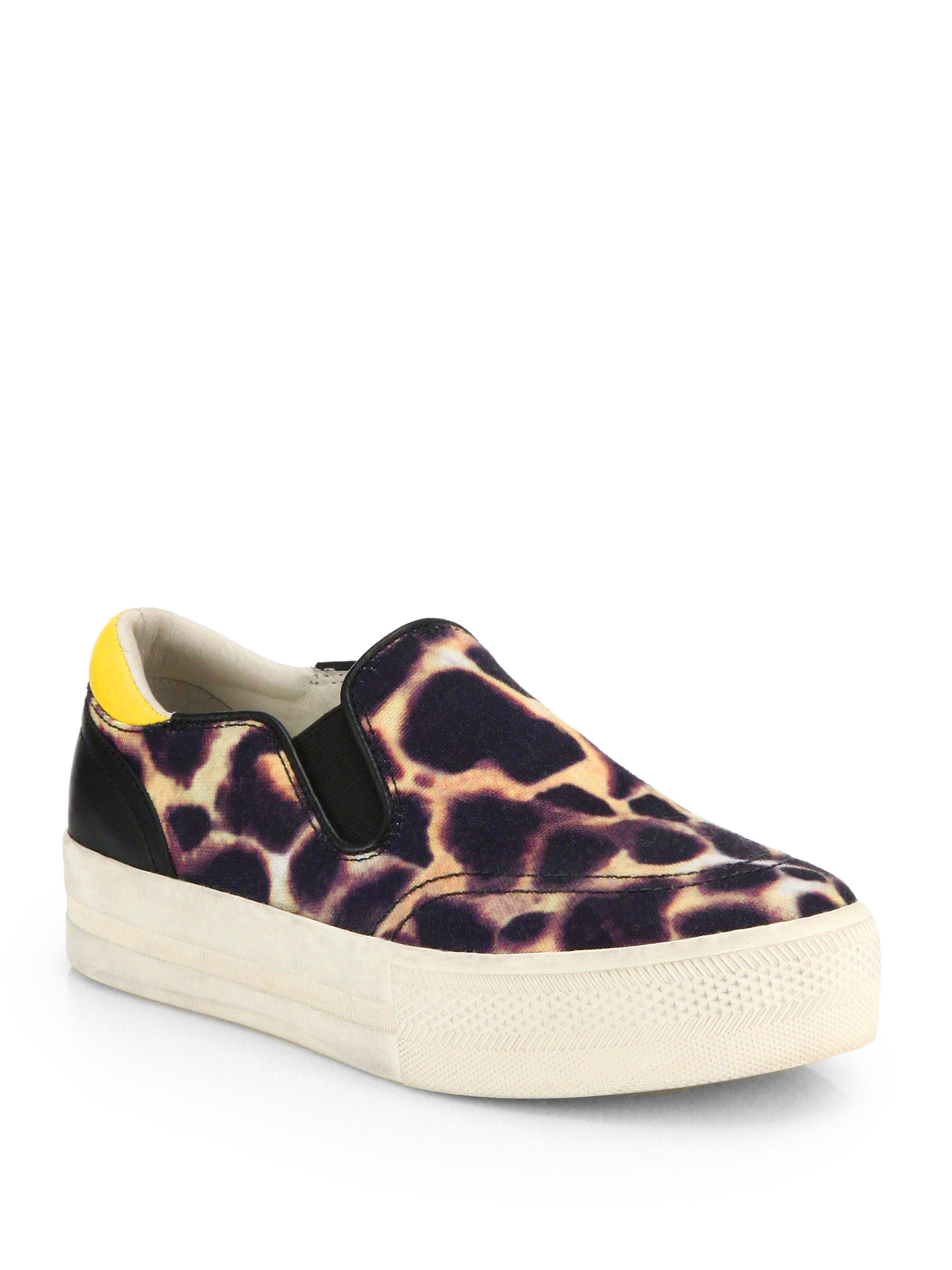ash jungle animalprint canvas laceless sneakers in animal multi lyst. Black Bedroom Furniture Sets. Home Design Ideas