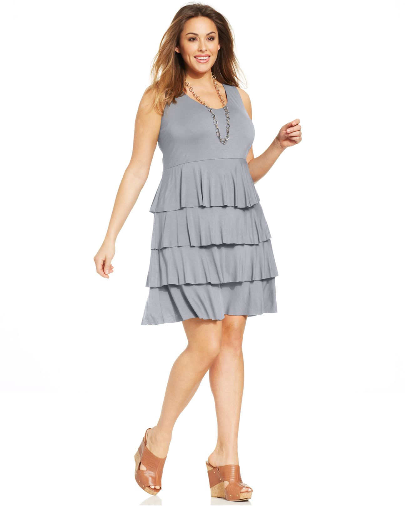 Style Co Plus Size Tiered Tank Dress In Gray Lyst
