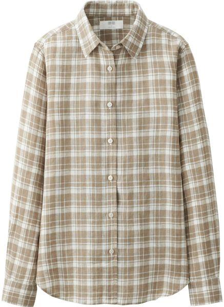 Uniqlo women premium linen check long sleeve shirt in for Uniqlo premium t shirt