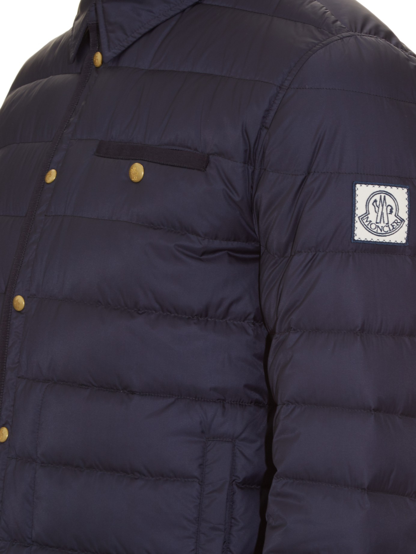 5d838bff7 Moncler Gamme Bleu Blue Point-collar Quilted-down Jacket for men