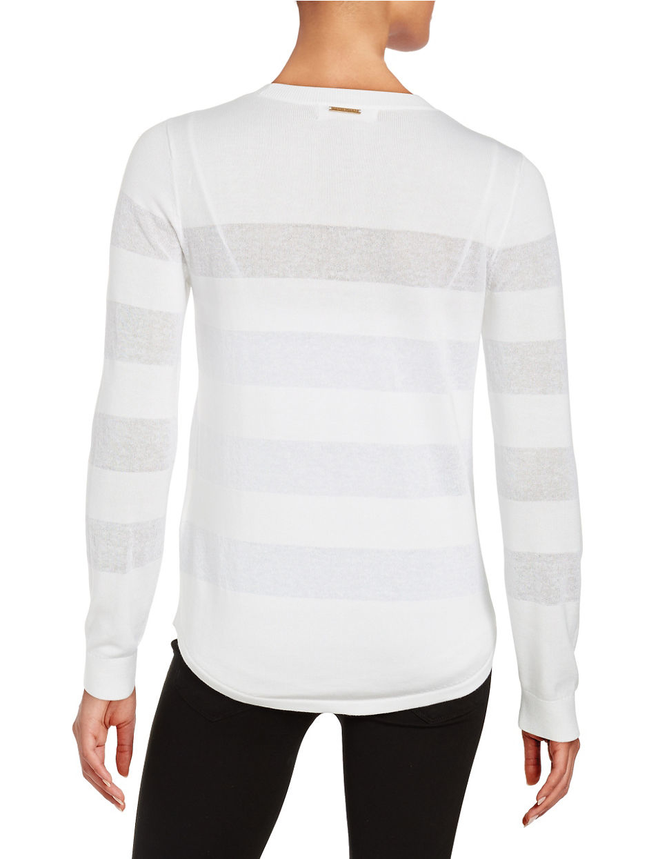 lyst michael michael kors block striped pullover in white. Black Bedroom Furniture Sets. Home Design Ideas