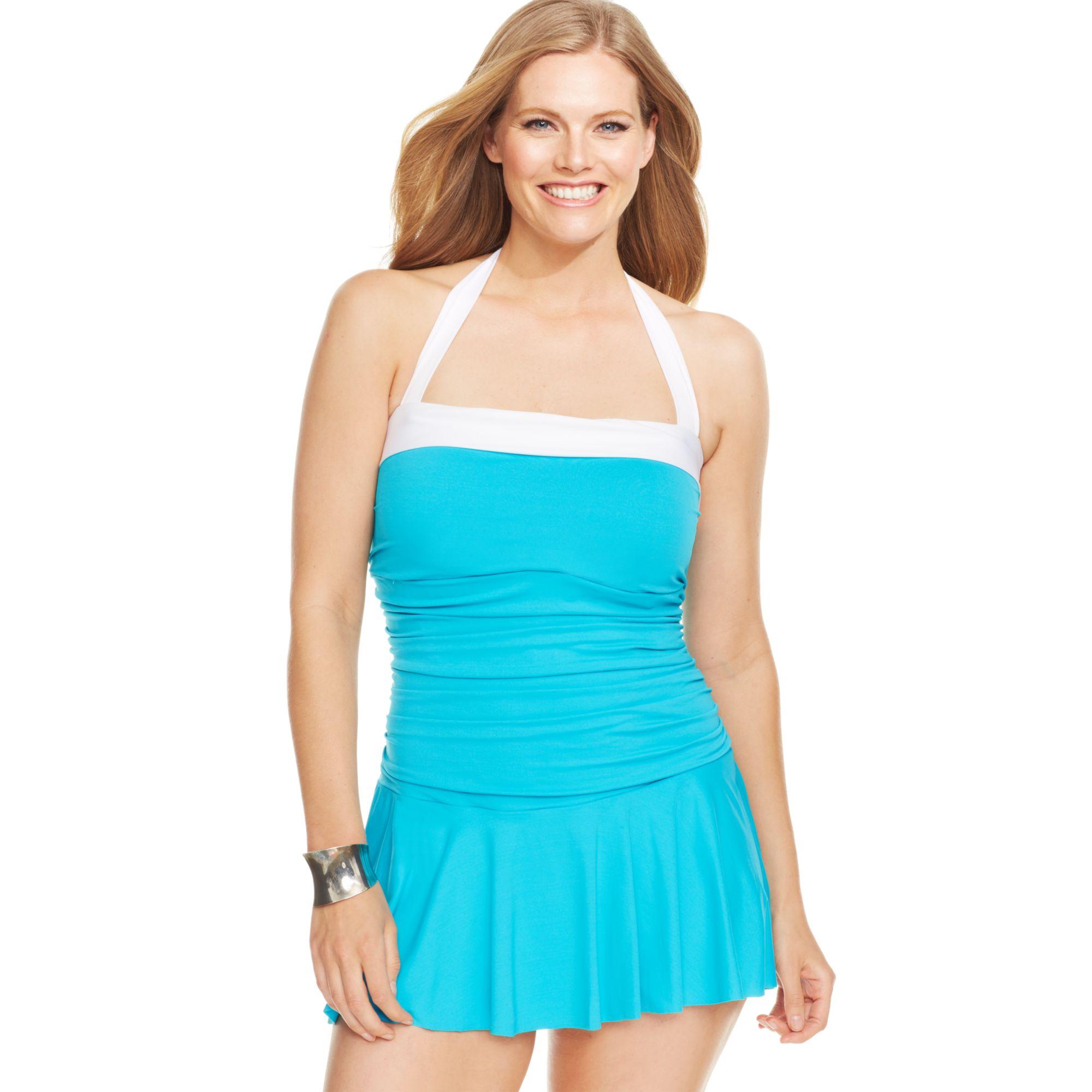 ece127af4f1 Lyst - Lauren by Ralph Lauren Plus Size Colorblocked Halter ...