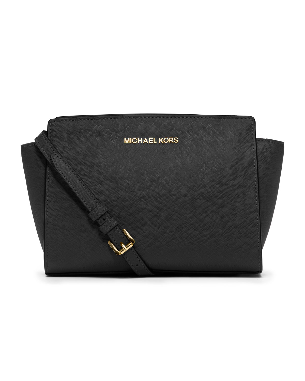 michael michael kors selma medium messenger bag in black. Black Bedroom Furniture Sets. Home Design Ideas