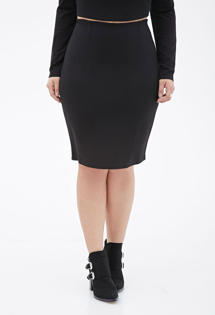 forever 21 plus size stretch knit pencil skirt in black lyst