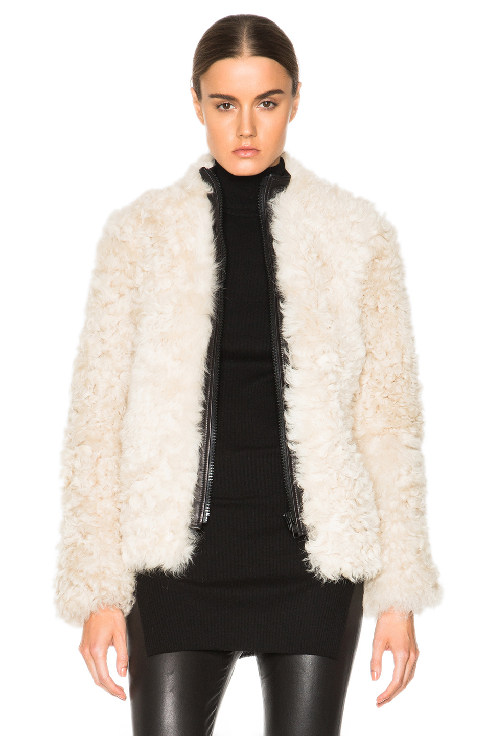 Helmut lang Lamb Shearling Jacket in White | Lyst