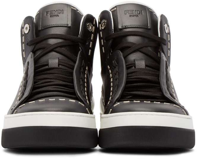 c0ff9f0262 Fendi Black Leather Studded High-top Sneakers for men