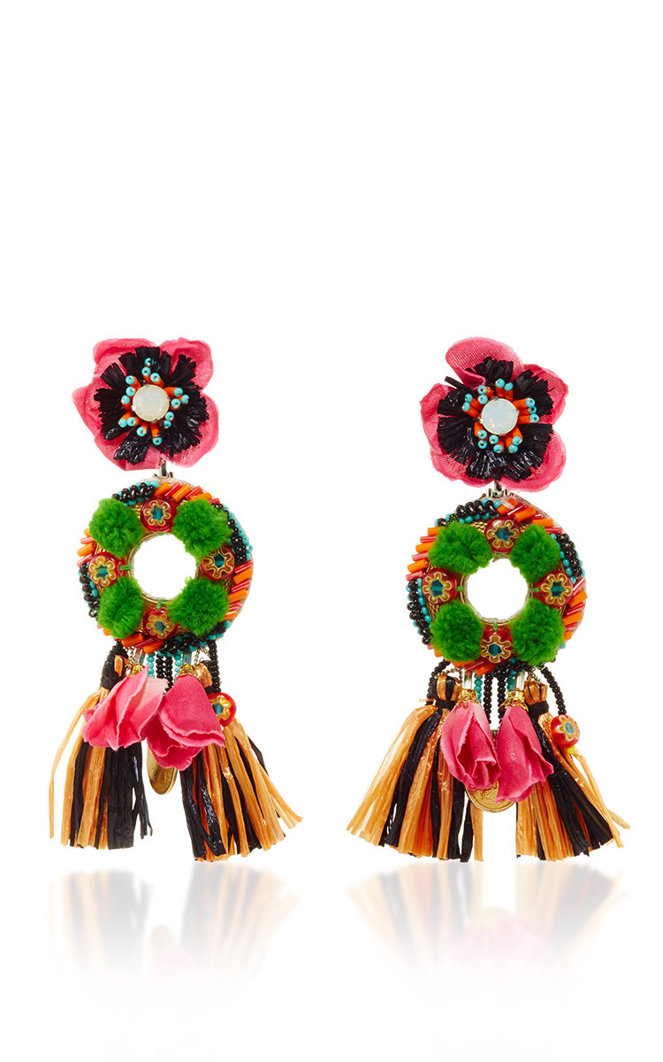 Ranjana Khan Pom Pom Clip On Drop Earrings In Green Lyst