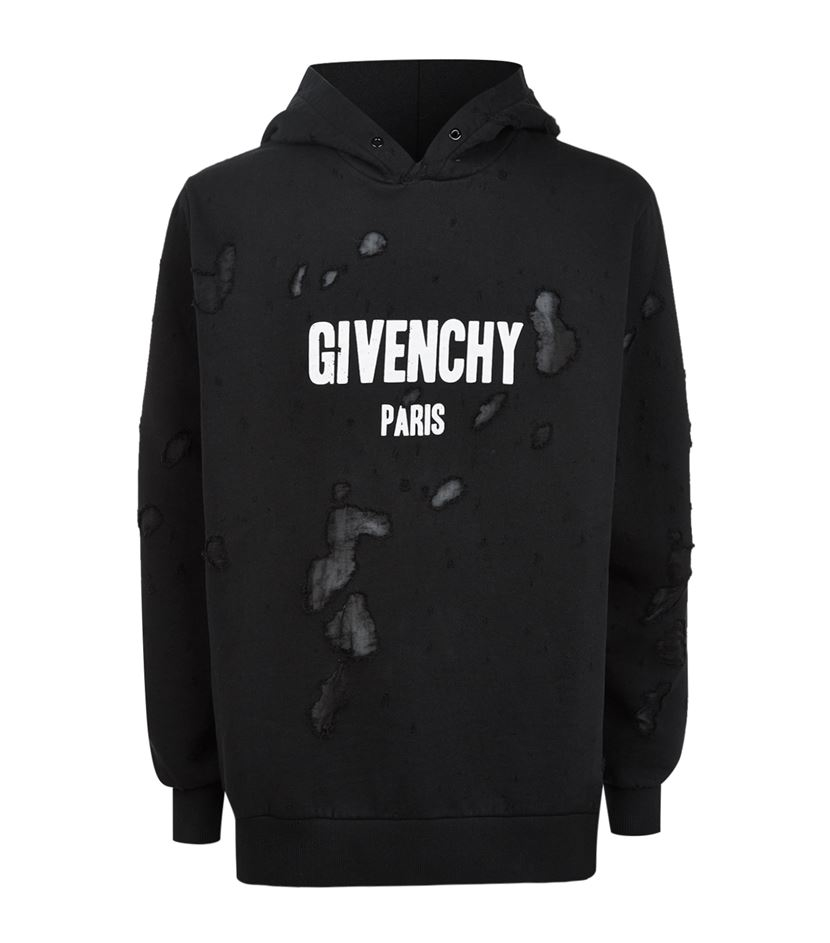 Givenchy Distressed Logo Hoodie In Black For Men Lyst