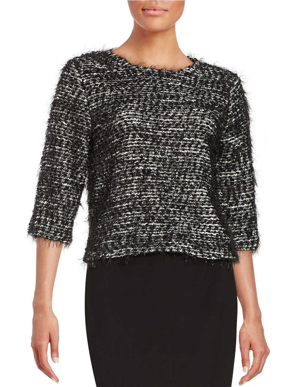 Lyst Vince Camuto Petite Boucle Knit Sweater In Black