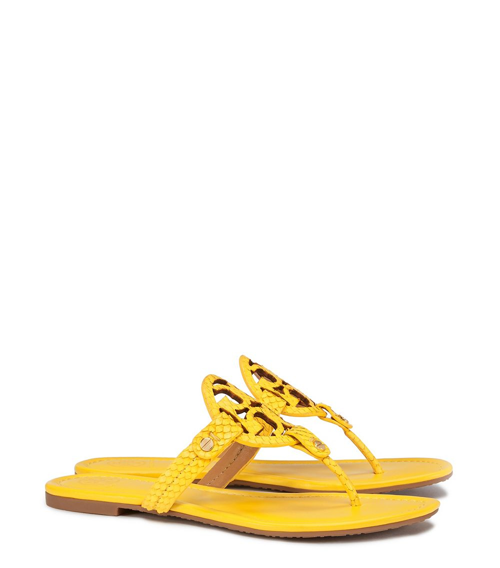 18a35c430 Tory Burch Miller Embossed-Leather Sandals in Yellow - Lyst