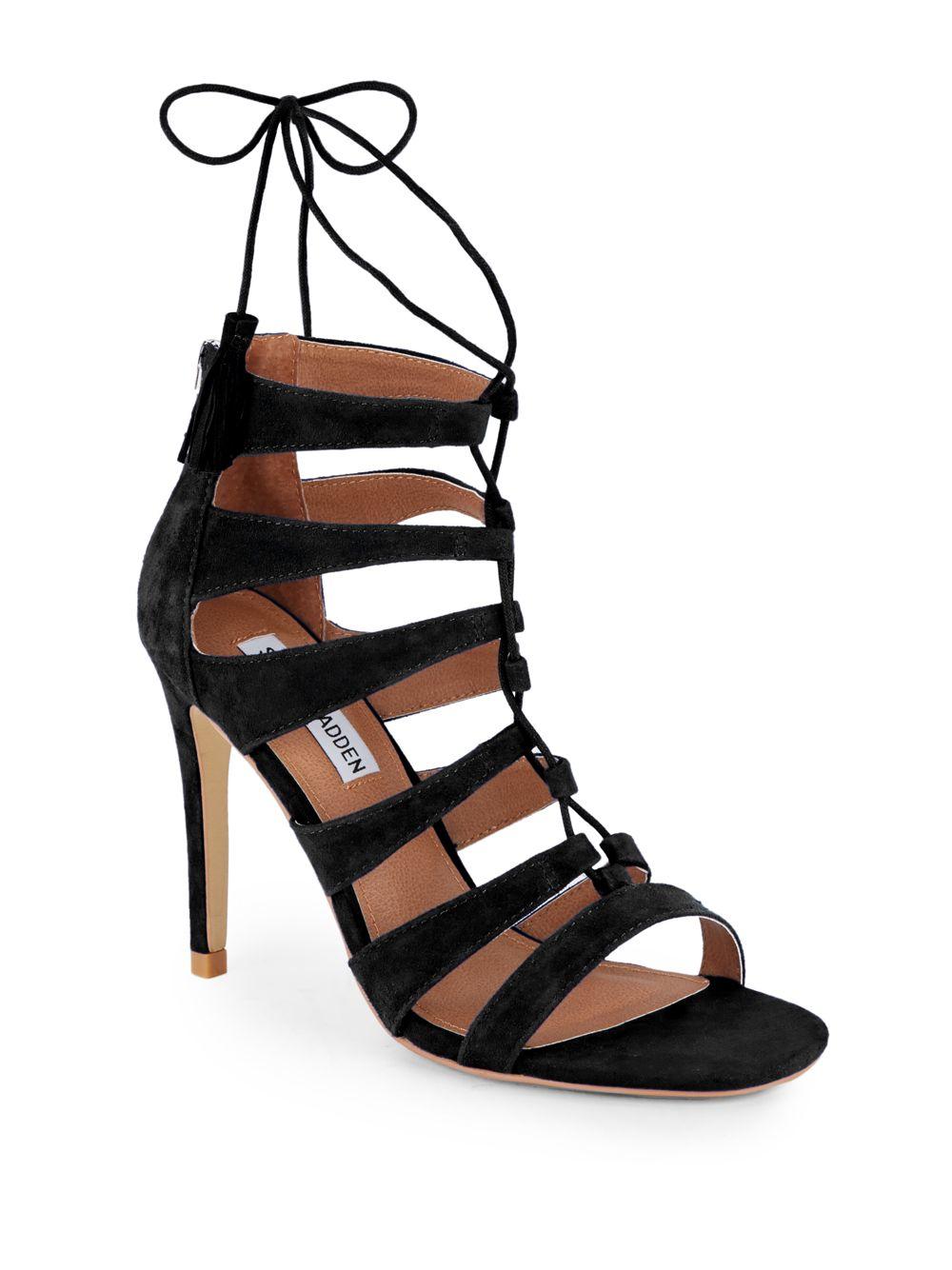 94c4e0c09cf Steve Madden Black Faraah Suede Strappy Open-toe Sandals